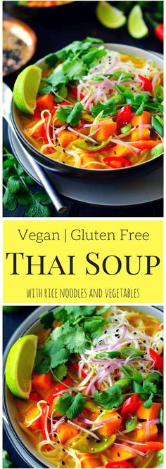This vegan Thai soup is a hearty dish brimming with vegetables, rice noodles and herbs in a sweet, savoury and spicy coconut broth. It's easy to make with a vegan store-bought curry paste and you won't need any exotic ingredients to get this delicious sou Thai Soup Vegetarian, Vegan Soups, Vegan Dishes, Thai Vegetable Soup, Spicy Thai Soup, Thai Vegan, Vegan Food, Soup Recipes, Cooking Recipes