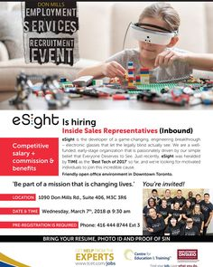 Why not consider working for one of Canada's most exciting tech companies - while helping people with at the same time? Stop by the hiring event Wed Mar at - Reg. Employment Service, Youth Programs, Game Change, Sales Representative, Education And Training, Job Search, Helping People, Tech Companies, Rsvp