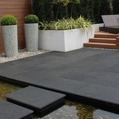 Stay bang on trend with this dark grey Noir Gold granite paving by Natural Paving. Beautiful dark colour tones with an occasional gold fleck creating the ideal garden design for your garden makeover. Garden Slabs, Patio Slabs, Patio Tiles, Garden Paving, Slate Patio, Outdoor Paving, Outdoor Tiles, Outdoor Gardens, Concrete Patios