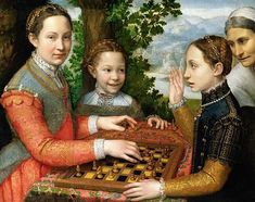 The Chess Game (Portrait of the artist's sisters playing chess) by Sofonisba Anguissola National Museum in Poznań, Poland. Lucia, Minerva and Europa Anguissola playing chess. Many of Anguissola's paintings feature self-portraits and her family. Die Renaissance, Renaissance Kunst, Italian Renaissance, Michelangelo, Infinite Art, Kunsthistorisches Museum, Female Painters, Italian Painters, Local Painters
