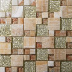Stone and Glass Mosaic Sheets Square Tiles Natural Marble Tile Backsplash Bathroom Wall Tiles 637