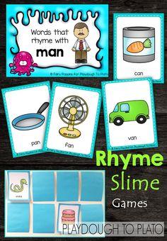 Tons of fun, FREE rhyming games for kids! Great for preschool or kindergarten. Rhyming Kindergarten, Kindergarten Centers, Kindergarten Literacy, Early Literacy, Esl, Rhyming Activities, Preschool Games, Preschool Classroom, Future Classroom