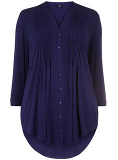 Evans Navy Pintuck Shirt - Tops & Tunics  - Clothing