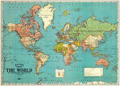 Vintage World Map Poster, Framed World Map, Retro Poster, Vintage Posters, Retro Vintage, Vintage World Maps, Map Posters, Vintage Style, Fashion Vintage