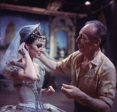 "New York City Ballet production of movie version of ""A midsummer Night's Dream""; George Balanchine on the set with Patricia McBride, choreography by George Balanchine (New York) IMAGE ID: SWOPE_790247"