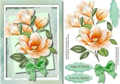 Lovely Magnolias in Apricot  on Craftsuprint - Add To Basket!