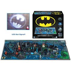 The Batman Map of Gotham DC Puzzle contains the first complete map of Gotham City EVER released to the public. Also a detailed, glow-in-the-dark street layout, 160+ tiny buildings, and a working Bat Signal. We all want one.