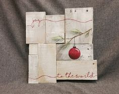 Rustic Christmas decor, Joy to the world, Pallet art, Farmhouse decor, One of a kind, ORIGINAL, Hand painted, Shabbt chic, Distressed