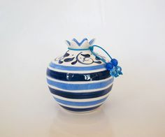 Two blue stripes ceramic pomegranate by IoannasVeryCHic on Etsy, $18.00 Pomegranates, Blue Stripes, Flower Pots, Candle Holders, Ceramics, Traditional, Unique Jewelry, Handmade Gifts, Etsy
