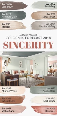 "With the Sincerity palette from our 2018 Colormix Forecast, blending is the new standing out. These soft, hushed hues are authentic and uncomplicated, screaming, ""less is more"" while urging us to declutter when it comes to design. Earthy colors like Less Brown SW 6040 and Song Thrush SW 9112 are rich with possibility, while neutrals like Functional Gray SW 7024 and Sashay Sand SW 6051 lend a peaceful calm to any space. Ready to celebrate the unfiltered? This palette is for you."