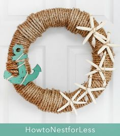 Nautical Rope Wreaths: http://www.completely-coastal.com/2016/06/nautical-rope-wreaths.html Attach anything! From wood cutouts to shore finds.