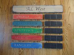 AL West Standings board Houston Astros Texas Rangers LA Angels of Anaheim Oakland Athletics Seattle Mariners. $94.00, via Etsy.