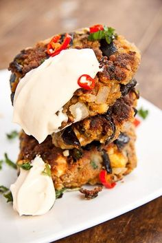 Roasted Aubergine (eggplant) and Feta Fritters with Spicy-Cream-Cheese Sauce. Great Vegan Recipe. Yum.