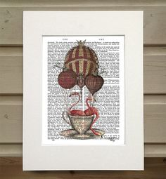 Pink Flamingos In teacup  flamingo print by DottyDictionary