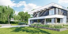 DOM.PL™ - Projekt domu CPT HomeKONCEPT-37 CE - DOM CP1-42 - gotowy koszt budowy Modern Family House, Modern House Plans, 2 Storey House Design, Home Fashion, Pergola, Exterior, Mansions, Luxury, House Styles
