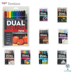 Brand New! Tombow Dual Brush Pen, Brush Pen Art, Tombow Markers, Blender Pen, Cool Paper Crafts, Marker Pen, Paper Texture, School Supplies, Dorm Shopping