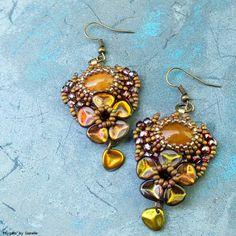 """""""Physalis Peruviana"""" earrings - stone cabochons, TOHO, Matubo seed beads, Czech rose petal beads"""