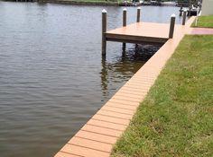 Vinyl Decking for Seawall Cap - Land And Sea Marine, Inc. Lake Dock, Boat Dock, Docks Lake, Orlando, Architecture Design, Vinyl Deck, Beach Cottage Decor, Cottage Ideas, Cottage Chic