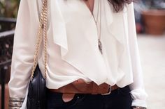 drapey shirt and leather built, great combo