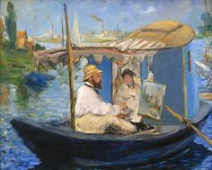 """Manet Painting on His Studio Boat"""