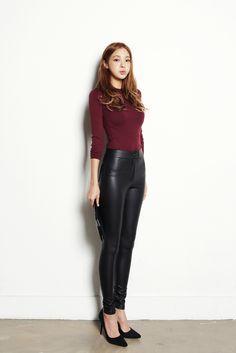 Koren fashion - high waist leather pants