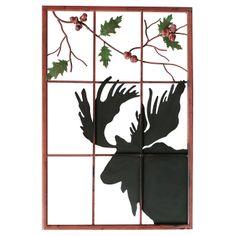 Moose on Window Metal Art- to put in an old door for the closet door maybe?  $120.