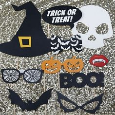 Trick or Treat? Have fun this Halloween with these frightfully fabulous photo booth props. Each prop features a terrifying Halloween design that is sure to add a seriously spooky edge to your Halloween photos including a Witches Hat, Trick or Treat Speech Bubble, Pumpkin Glasses, Skull, Boo! text, Bat, Spider Wed Glasses, Witches Glasses, Bat Bow-tie and of course, Dracula style teeth and red lips! Use as fun table accessories or create your own photo-booth and add an extra spine chilling…
