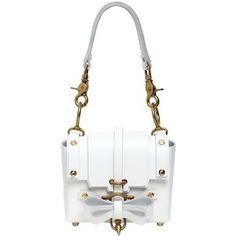 NIELS PEERAER Baby Bow Buckled Leather Shoulder Bag - White