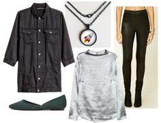 Silver shirt, black button up shirt, black pants, pendant necklace, green shoes