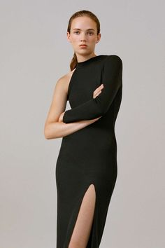 One Shoulder Ribbed Midi Dress - Topshop USA