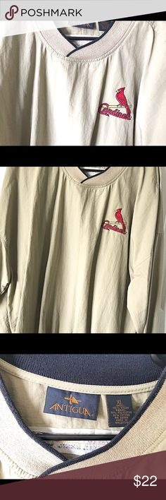 STL Cardinals Pullover Tan nylon pullover windbreaker with STL Cardinals logo. Excellent condition. XL. Smoke free home. Jackets & Coats Windbreakers