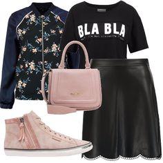 Ho ricreato lo stile urban utilizzando una t-shirt con stampa abbinata ad una gonna a campana in similpelle, sneakers e borsetta da tenere sia a mano che a tracolla in colore rosa e ho concluso con il bomber a fiori.