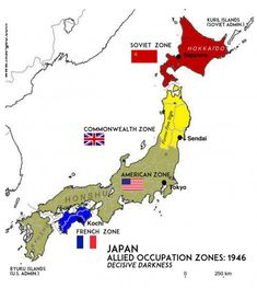 World History ©: Proposed post-War occupation of Japan by the Soviet and Allied forces Alternate Worlds, Alternate History, British Empire Flag, Imaginary Maps, Propaganda Art, Country Maps, War Photography, Fantasy Map, Asian History