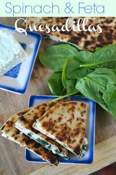 Spinach ; Feta quesadillas