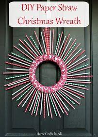DIY Paper Straw Christmas Wreath