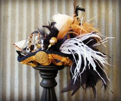 #steampunk #Pirate #wedding? Maybe......... Royal Pirate Ship Pirate Hat Tricorn Marie Antoinette by ChikiBird, $115.00