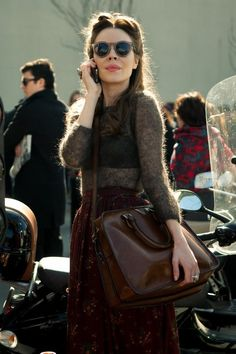Gorgeous Fall Style; Knit, Burgundy, Leather Bag