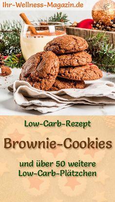 Einfache Brownie-Cookies ohne Zucker: Schnelle Low-Carb-Variante für klassische amerikanische Plätzchen, mit Schokolade, Mandelmehl, Kakao und 4 weiteren Zutaten - leckere, zuckerfreie, gesunde, kohlenhydratarme Weihnachtskekse, die man das ganze Jahr über naschen kann ... Brownie Cookies, Farmhouse Christmas Decor, Christmas Baking, Keto, Paleo, Food And Drink, Christmas Decorations, Snacks, Vegan