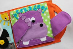 Peekaboo quiet book page- a single page to add to your custom book! Delight your little one with this fun game! Perfect for a beginner book for your baby! Choose from hippo or kitten!  Quiet Books are a great way to keep your little ones occupied and learning during church, doctors appointments, traveling, or anywhere you need to keep your children quietly entertained! Unique and thoughtful gift idea! Expand and change your book with your child as they learn and grow! Choose any 4+ page book…
