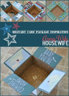 Army Wife Military Care Package Inspiration, for if your husband is actually another Army Wife who will enjoy the cutesy scrap book details you've spent hours on. Or if you are ok with the knowledge that he will glance at the decor, then promptly toss the box and pretend to remember all the details on the phone.