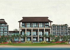 Tu Fu Bay Resort Master Plan, Beach Hotels, Interior Architecture, Facade, Multi Story Building, Sketch, How To Plan, Mansions, Drawing