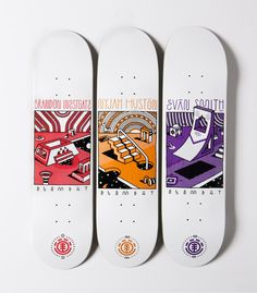 Element - Modular Series - Art By Elna Skateboard Deck Art, Skateboard Pictures, Skateboard Design, Deck Design, Design Art, Graphic Design, Cozy Coffee Shop, Custom Skateboards, Skate Art