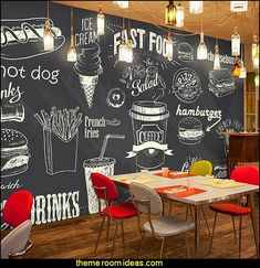 blackboard wallpaper murals food wallpaper murals bistro kitchen cafe kitchen wall murals Without do Coffee Shop Design, Cafe Design, Mural Cafe, Kitchen Wall Design, Kitchen Layout, Blackboard Art, Bistro Kitchen, Kitchen Shop, Wall Bar