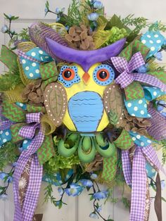 Owl Mesh Spring and Summer Wreath by WilliamsFloral on Etsy https://www.etsy.com/listing/273210048/owl-mesh-spring-and-summer-wreath