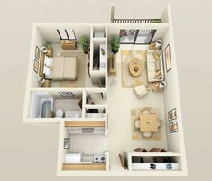 50 One Bedroom Apartment& Plans Condo Floor Plans, 3d House Plans, Apartment Floor Plans, Small House Plans, Apartment Layout, 1 Bedroom Apartment, Apartment Design, Layouts Casa, House Layouts