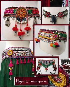 Tribal Belly Dance Accessories and Festival Headdresses by HajnaLuna Fancy Jewellery, Thread Jewellery, Textile Jewelry, Fabric Jewelry, Tribal Fusion, Navratri Dress, Navratri Special, Tribal Belly Dance, Belly Dance Costumes