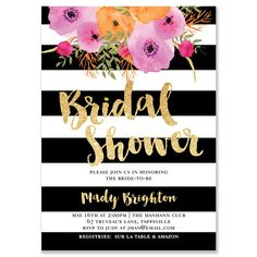 Free Printable Floral Bridal Shower Invitation Templates Pinterest - Black and white bridal shower invitation templates