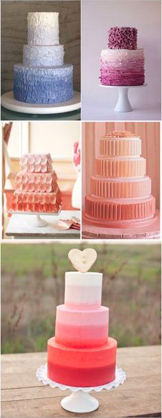2015 düğün pastası trendlerinde, rengi açıktan koyuya doğru değişen çok katlı pastalar yer alıyor. Düğününüz için önceden belirlediğiniz renkte bir #pasta çok hoş olabilir! :) #dugun #wedding #pinkredi
