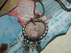 altered art  | Art: Follow Time Altered Art Charm Necklace by Artist Lisa Wiktorek