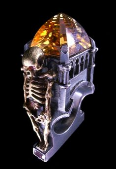 Citrine, Ruby and Gold Skeleton Cathedral Ring